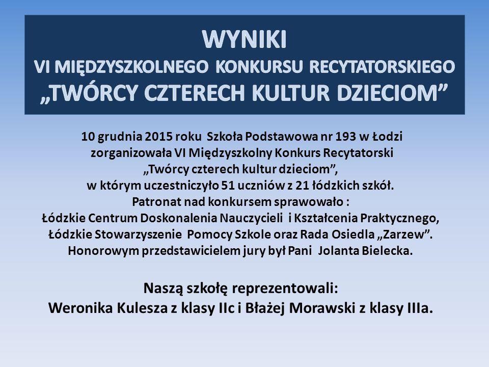 """10 grudnia 2015 roku Szkoła Podstawowa nr 193 w Łodzi zorganizowała VI Międzyszkolny Konkurs Recytatorski """"Twórcy czterech kultur dzieciom , w którym uczestniczyło 51 uczniów z 21 łódzkich szkół."""