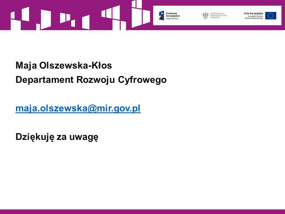 Maja Olszewska-Kłos Departament Rozwoju Cyfrowego maja.olszewska@mir.gov.pl Dziękuję za uwagę