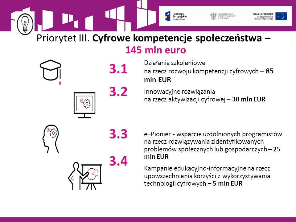 Wsparcie POPC na rzecz kompetencji cyfrowych - Oś priorytetowa III W osi III POPC Cyfrowe kompetencje społeczeństwa interwencja adresowana będzie do grup o zróżnicowanych poziomach kompetencji cyfrowych, ze szczególnym uwzględnieniem działań na rzecz włączenia cyfrowego.