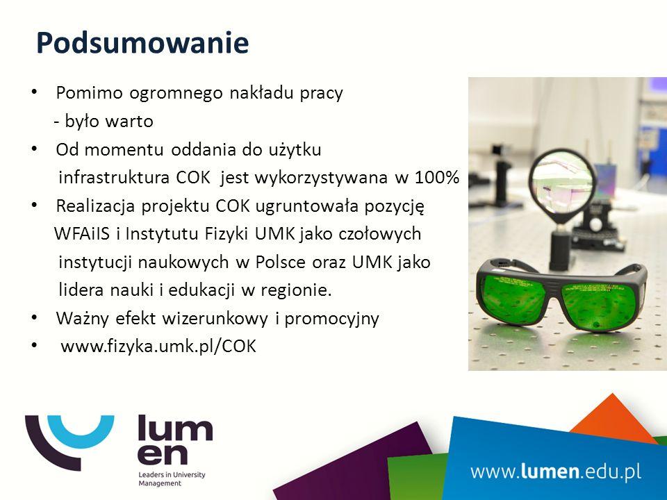 Podsumowanie Pomimo ogromnego nakładu pracy - było warto Od momentu oddania do użytku infrastruktura COK jest wykorzystywana w 100% Realizacja projektu COK ugruntowała pozycję WFAiIS i Instytutu Fizyki UMK jako czołowych instytucji naukowych w Polsce oraz UMK jako lidera nauki i edukacji w regionie.