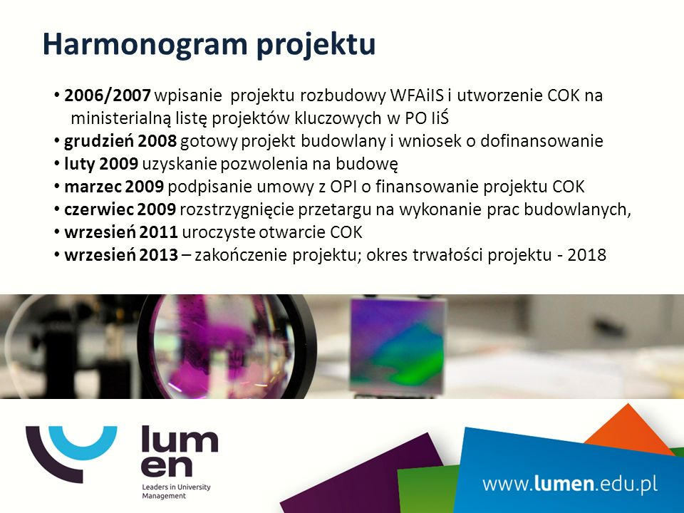 Harmonogram projektu 2006/2007 wpisanie projektu rozbudowy WFAiIS i utworzenie COK na ministerialną listę projektów kluczowych w PO IiŚ grudzień 2008 gotowy projekt budowlany i wniosek o dofinansowanie luty 2009 uzyskanie pozwolenia na budowę marzec 2009 podpisanie umowy z OPI o finansowanie projektu COK czerwiec 2009 rozstrzygnięcie przetargu na wykonanie prac budowlanych, wrzesień 2011 uroczyste otwarcie COK wrzesień 2013 – zakończenie projektu; okres trwałości projektu - 2018
