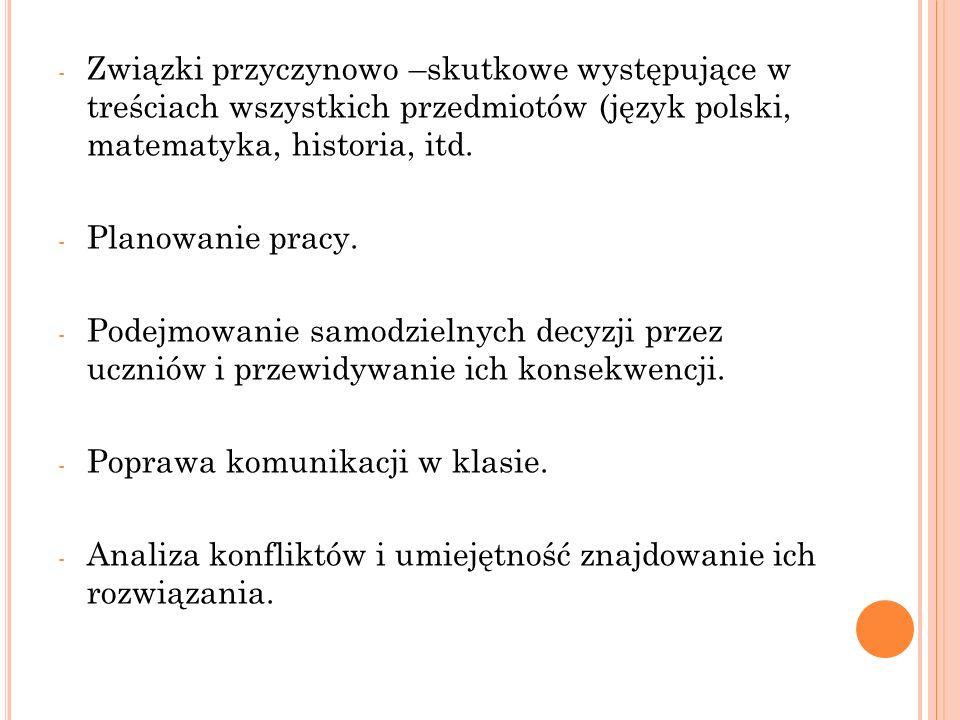 - Związki przyczynowo –skutkowe występujące w treściach wszystkich przedmiotów (język polski, matematyka, historia, itd. - Planowanie pracy. - Podejmo