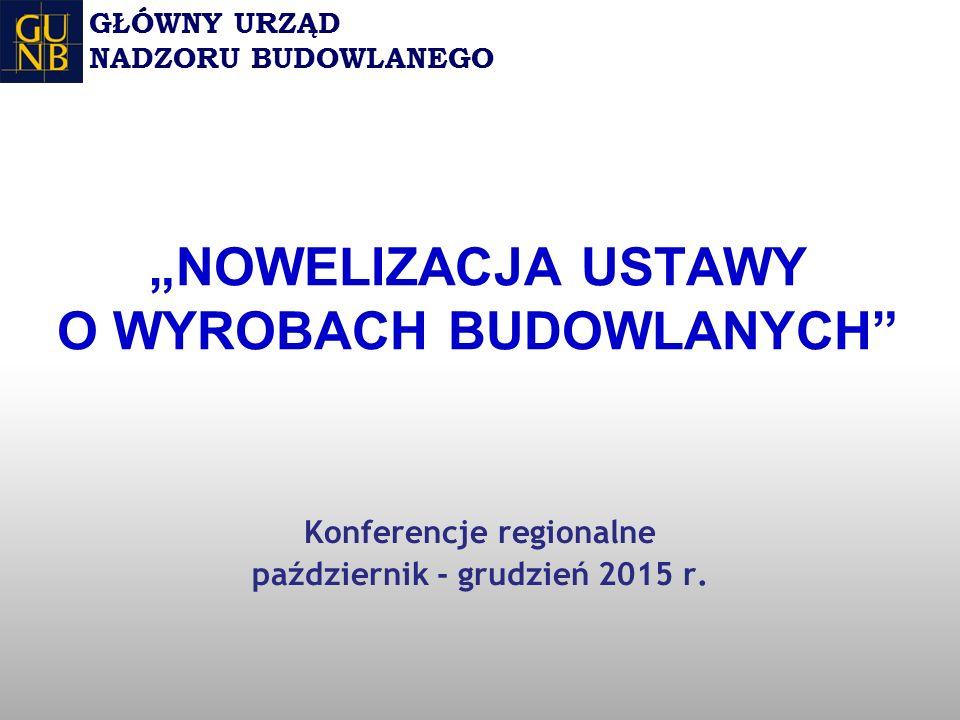 """""""NOWELIZACJA USTAWY O WYROBACH BUDOWLANYCH Konferencje regionalne październik - grudzień 2015 r."""