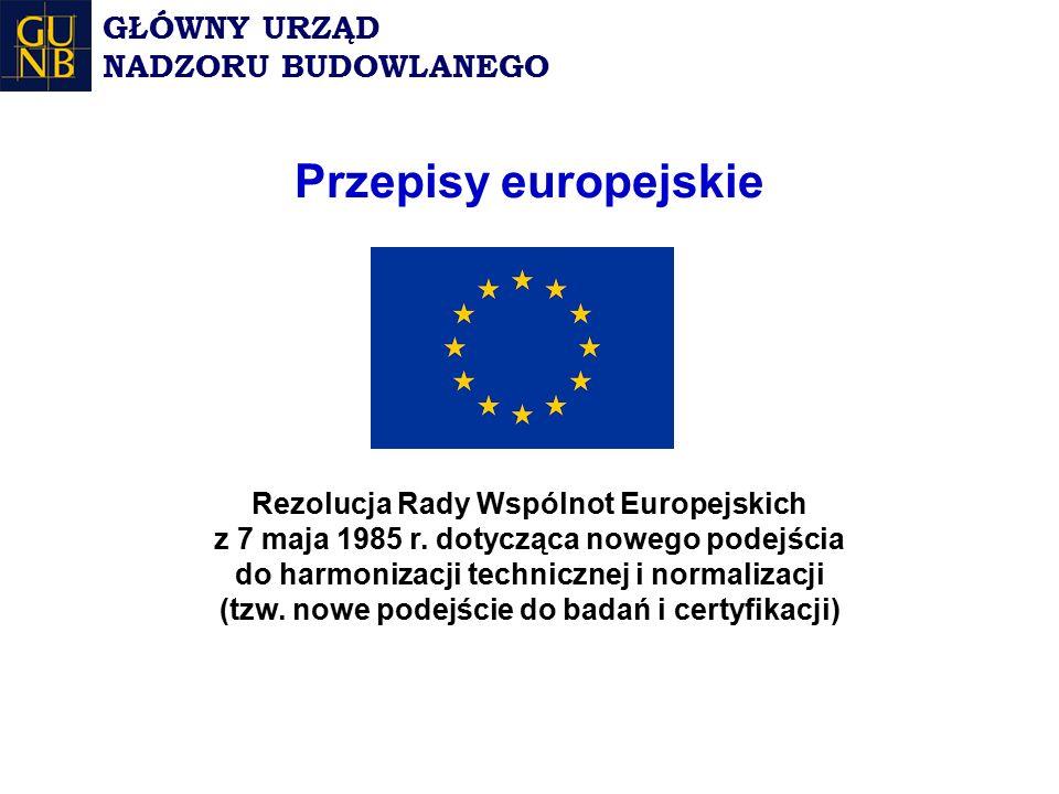Przepisy europejskie Rezolucja Rady Wspólnot Europejskich z 7 maja 1985 r.
