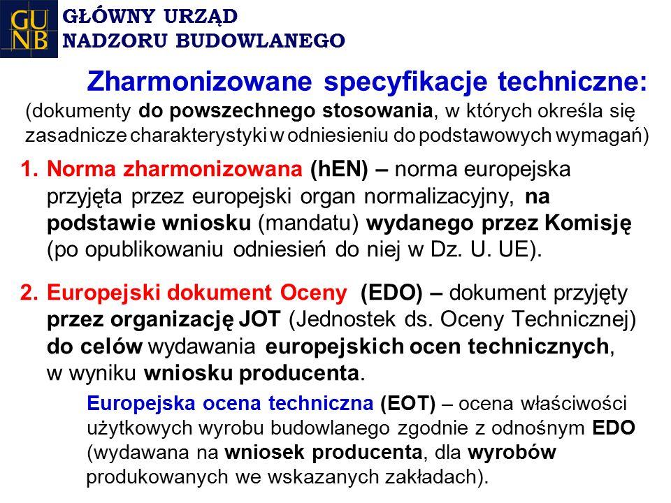 Zharmonizowane specyfikacje techniczne: (dokumenty do powszechnego stosowania, w których określa się zasadnicze charakterystyki w odniesieniu do podstawowych wymagań) 1.Norma zharmonizowana (hEN) – norma europejska przyjęta przez europejski organ normalizacyjny, na podstawie wniosku (mandatu) wydanego przez Komisję (po opublikowaniu odniesień do niej w Dz.