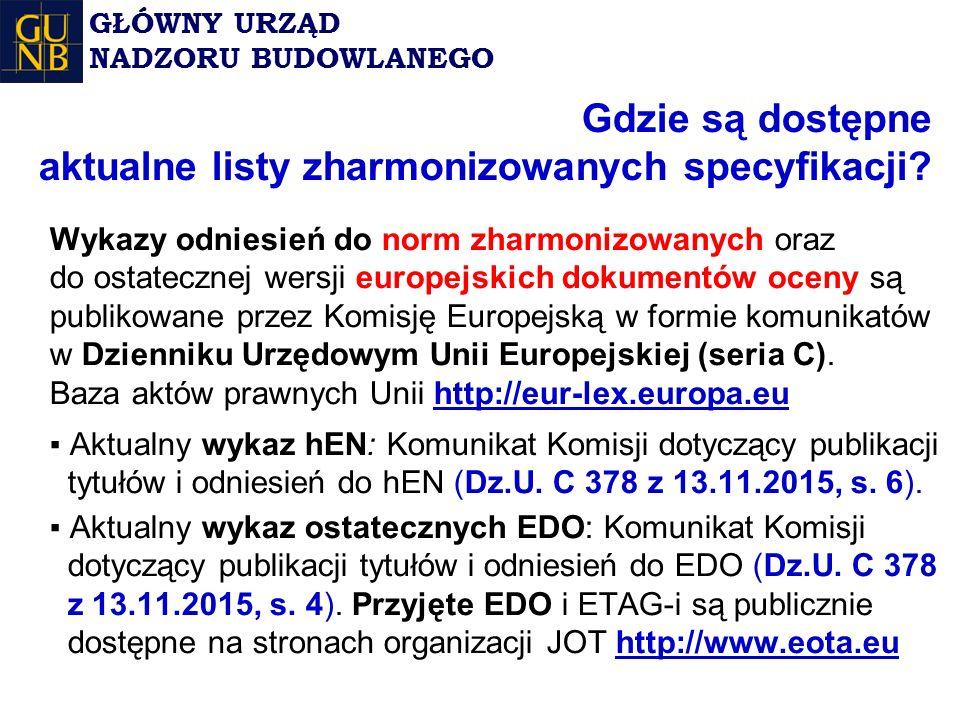 Wykazy odniesień do norm zharmonizowanych oraz do ostatecznej wersji europejskich dokumentów oceny są publikowane przez Komisję Europejską w formie komunikatów w Dzienniku Urzędowym Unii Europejskiej (seria C).