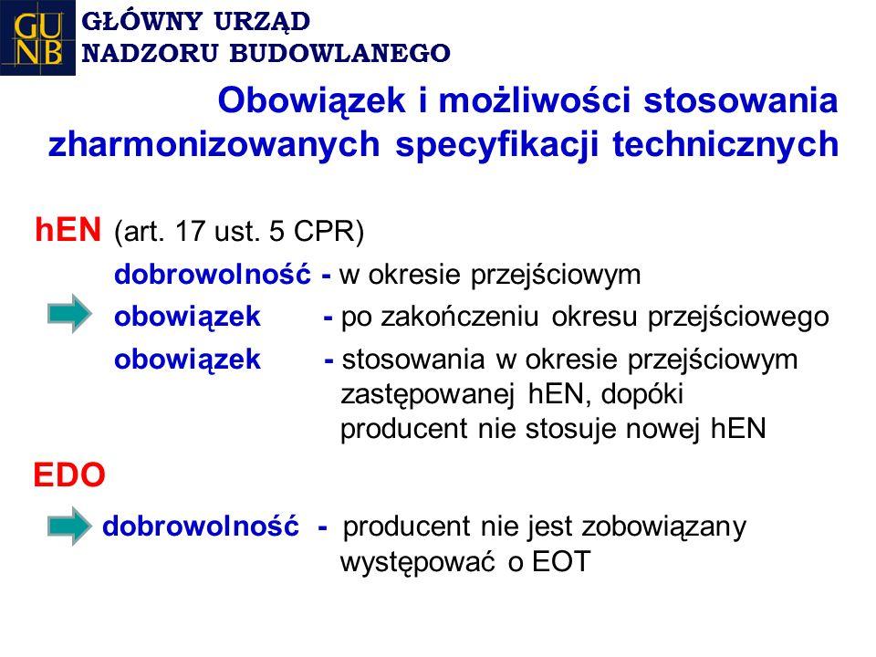 Obowiązek i możliwości stosowania zharmonizowanych specyfikacji technicznych hEN (art.
