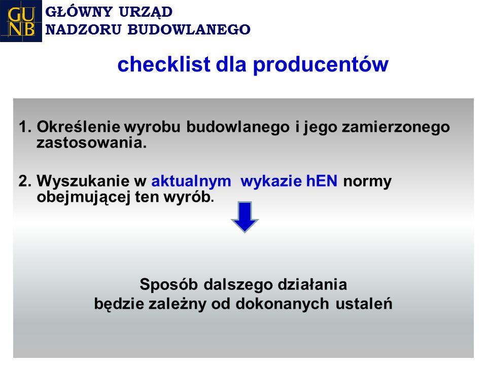checklist dla producentów 1.Określenie wyrobu budowlanego i jego zamierzonego zastosowania.