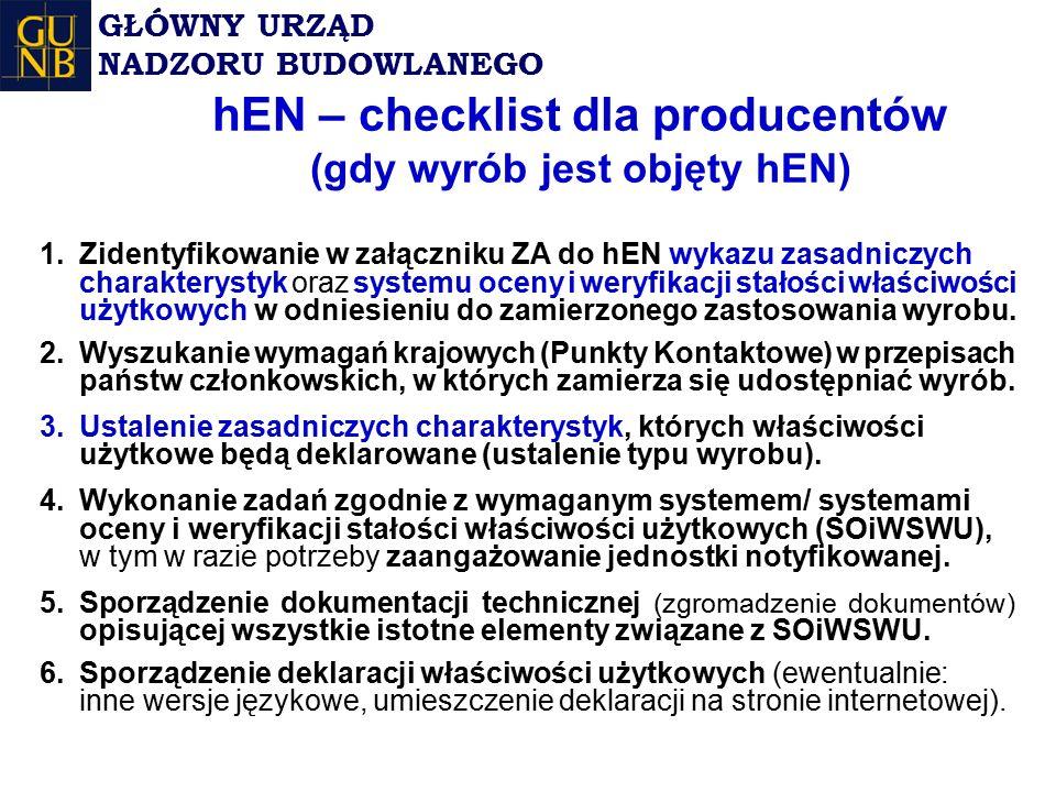 hEN – checklist dla producentów (gdy wyrób jest objęty hEN) 1.Zidentyfikowanie w załączniku ZA do hEN wykazu zasadniczych charakterystyk oraz systemu oceny i weryfikacji stałości właściwości użytkowych w odniesieniu do zamierzonego zastosowania wyrobu.