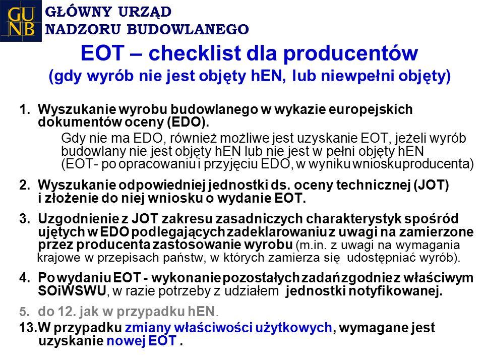 EOT – checklist dla producentów (gdy wyrób nie jest objęty hEN, lub niewpełni objęty) 1.