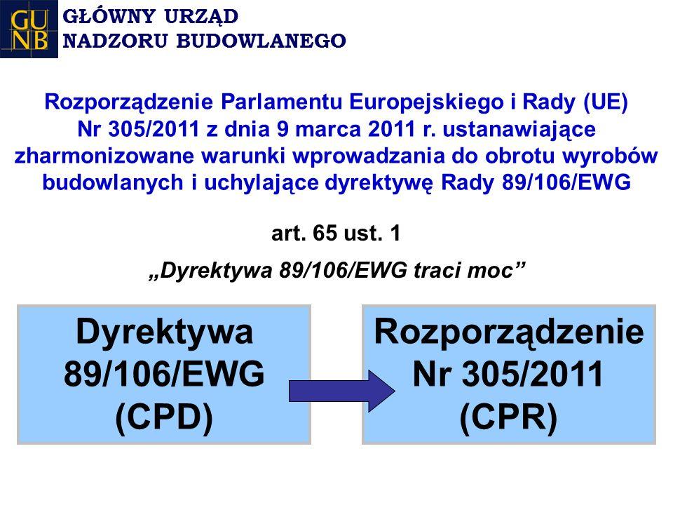 Dyrektywa 89/106/EWG (CPD) Rozporządzenie Nr 305/2011 (CPR) art.
