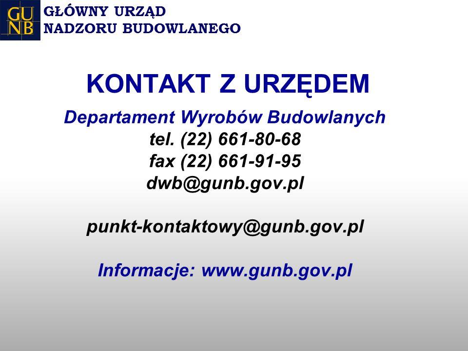 Departament Wyrobów Budowlanych tel.