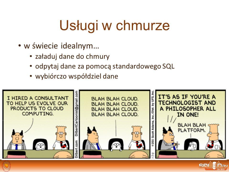 Usługi w chmurze w świecie idealnym… załaduj dane do chmury odpytaj dane za pomocą standardowego SQL wybiórczo współdziel dane