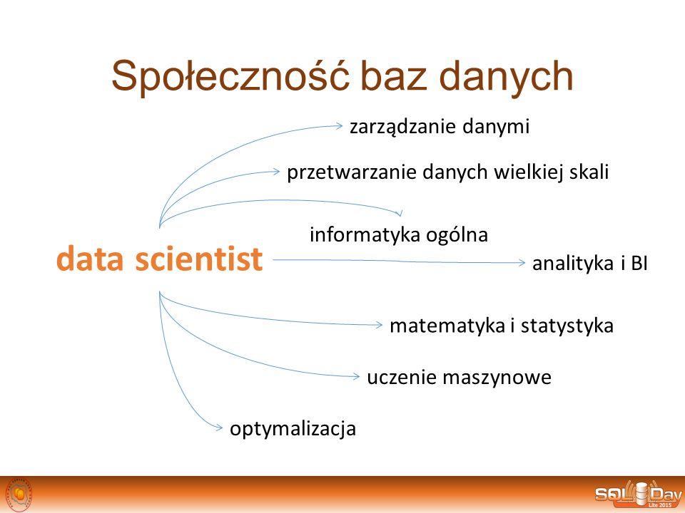 Społeczność baz danych data scientist zarządzanie danymi przetwarzanie danych wielkiej skali analityka i BI informatyka ogólna matematyka i statystyka