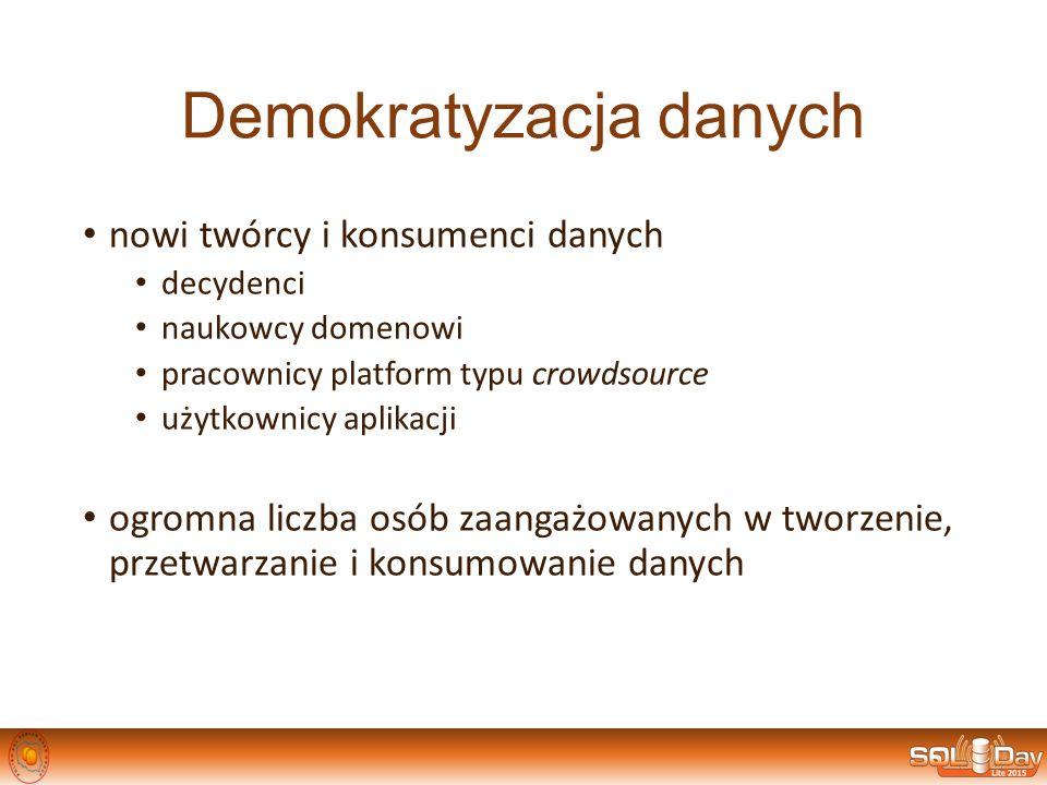 Demokratyzacja danych nowi twórcy i konsumenci danych decydenci naukowcy domenowi pracownicy platform typu crowdsource użytkownicy aplikacji ogromna l