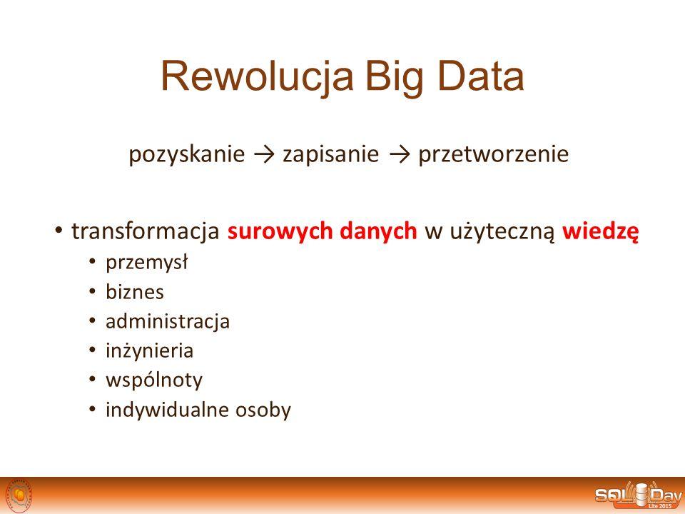 Rewolucja Big Data pozyskanie → zapisanie → przetworzenie transformacja surowych danych w użyteczną wiedzę przemysł biznes administracja inżynieria ws