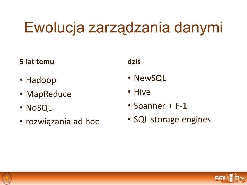 Ewolucja zarządzania danymi 5 lat temu Hadoop MapReduce NoSQL rozwiązania ad hoc dziś NewSQL Hive Spanner + F-1 SQL storage engines