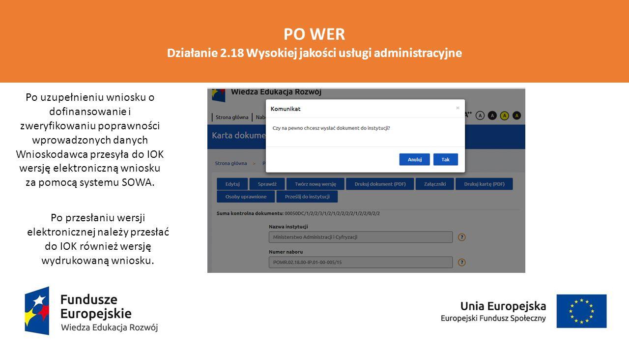 PO WER Działanie 2.18 Wysokiej jakości usługi administracyjne Po uzupełnieniu wniosku o dofinansowanie i zweryfikowaniu poprawności wprowadzonych dany