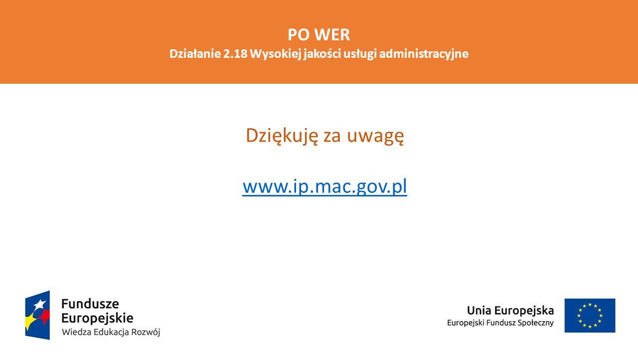PO WER Działanie 2.18 Wysokiej jakości usługi administracyjne Dziękuję za uwagę www.ip.mac.gov.pl