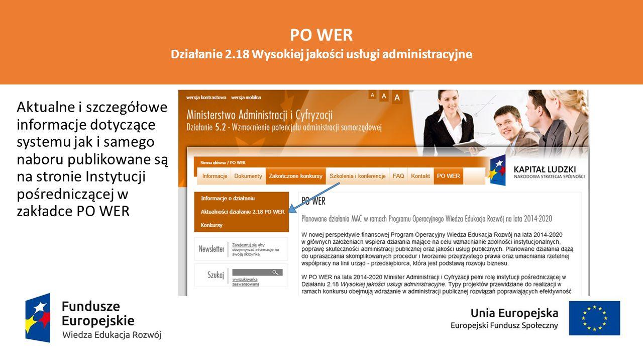 PO WER Działanie 2.18 Wysokiej jakości usługi administracyjne Aktualne i szczegółowe informacje dotyczące systemu jak i samego naboru publikowane są n