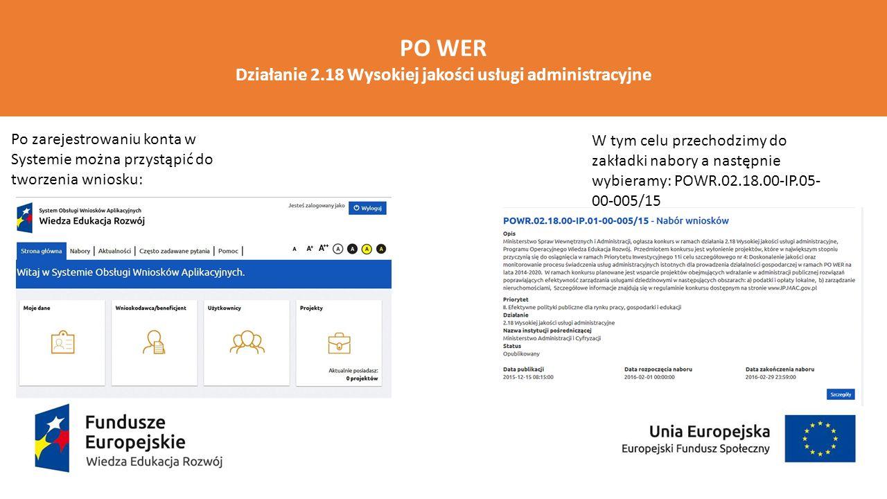 PO WER Działanie 2.18 Wysokiej jakości usługi administracyjne Po zarejestrowaniu konta w Systemie można przystąpić do tworzenia wniosku: W tym celu pr