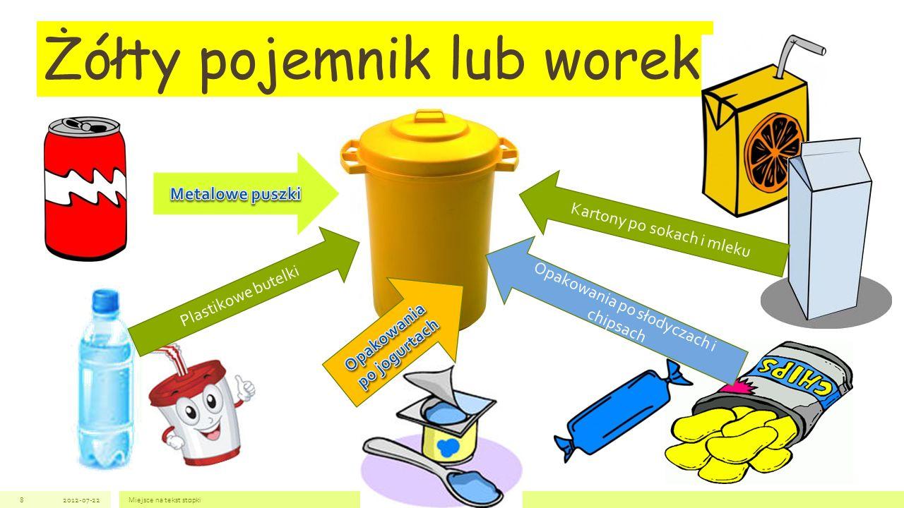 2012-07-22Miejsce na tekst stopki8 Żółty pojemnik lub worek Plastikowe butelki Opakowania po słodyczach i chipsach Kartony po sokach i mleku