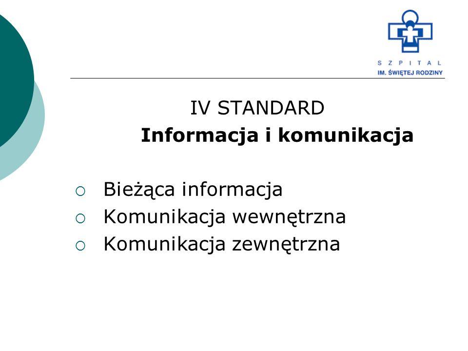 IV STANDARD Informacja i komunikacja  Bieżąca informacja  Komunikacja wewnętrzna  Komunikacja zewnętrzna