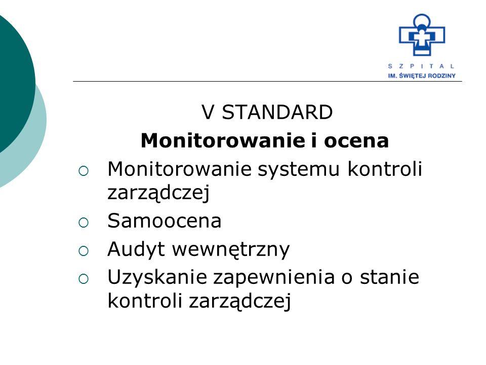 V STANDARD Monitorowanie i ocena  Monitorowanie systemu kontroli zarządczej  Samoocena  Audyt wewnętrzny  Uzyskanie zapewnienia o stanie kontroli