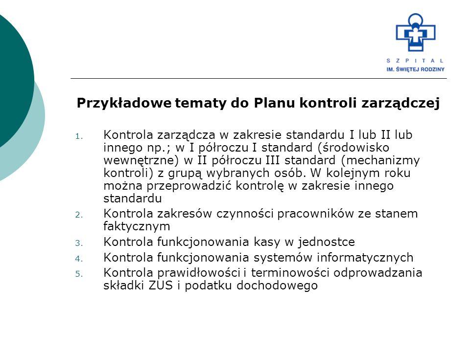 Przykładowe tematy do Planu kontroli zarządczej 1. Kontrola zarządcza w zakresie standardu I lub II lub innego np.; w I półroczu I standard (środowisk