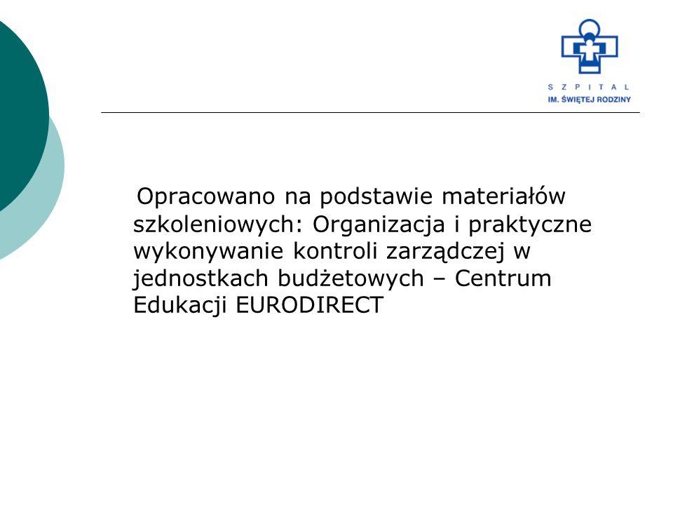 Opracowano na podstawie materiałów szkoleniowych: Organizacja i praktyczne wykonywanie kontroli zarządczej w jednostkach budżetowych – Centrum Edukacj