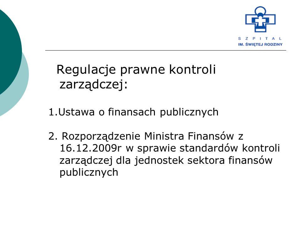 Regulacje prawne kontroli zarządczej: 1.Ustawa o finansach publicznych 2. Rozporządzenie Ministra Finansów z 16.12.2009r w sprawie standardów kontroli