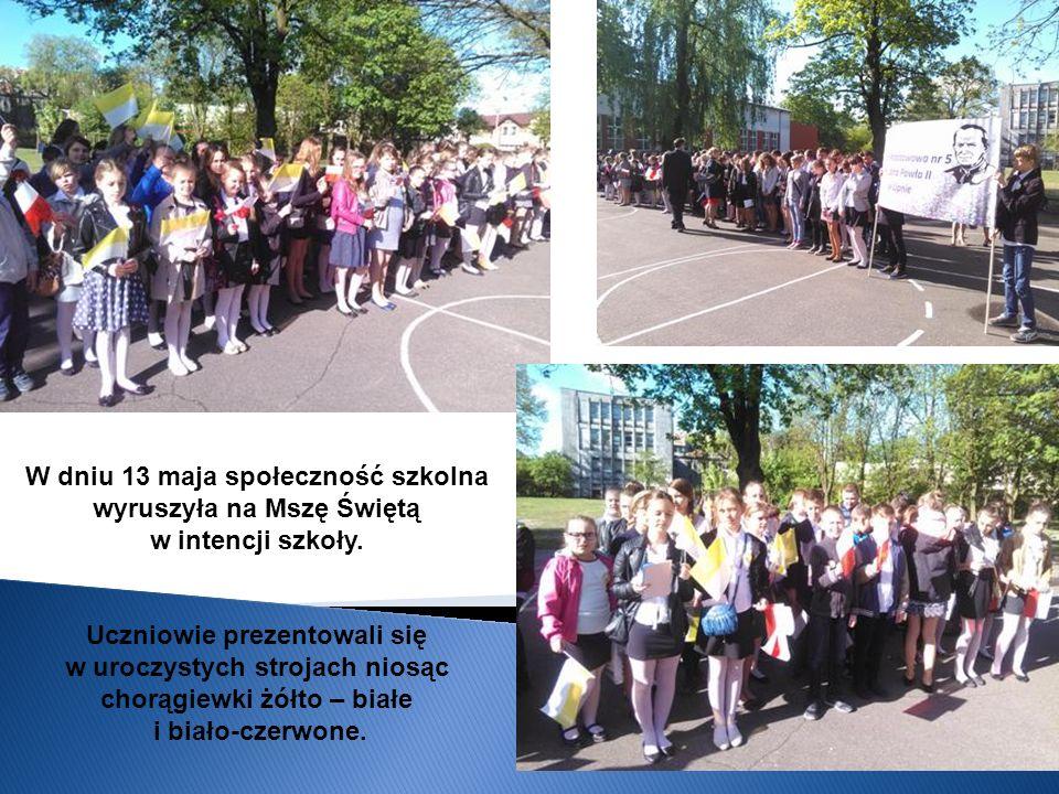 W dniu 13 maja społeczność szkolna wyruszyła na Mszę Świętą w intencji szkoły. Uczniowie prezentowali się w uroczystych strojach niosąc chorągiewki żó