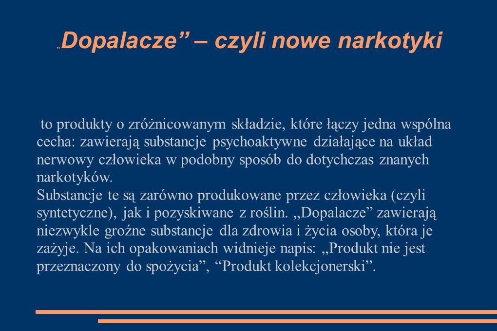 Inne nazwy dopalaczy: kadzidełka sole kąpielowe chemikalia do badań do badań botanicznych nawóz roślinny pożywka dla roślin