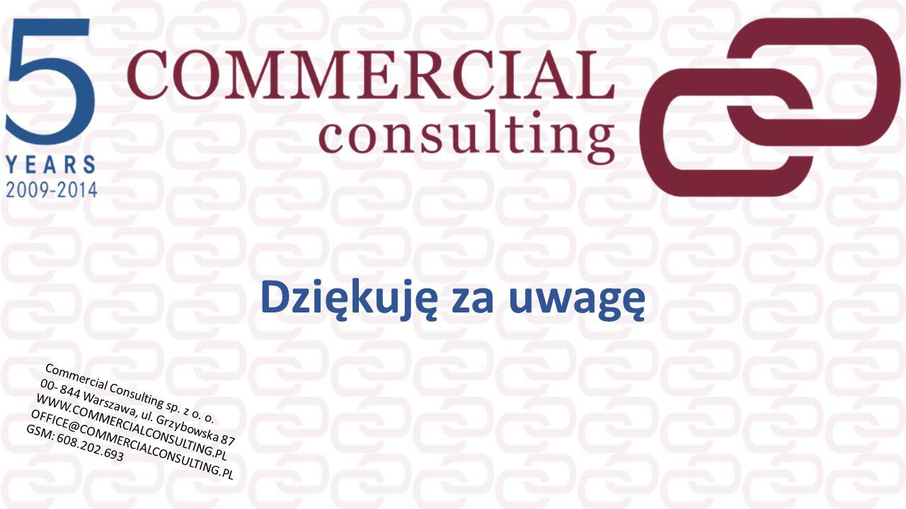 Dziękuję za uwagę Commercial Consulting sp. z o. o. 00- 844 Warszawa, ul. Grzybowska 87 WWW.COMMERCIALCONSULTING.PL OFFICE@COMMERCIALCONSULTING.PL GSM