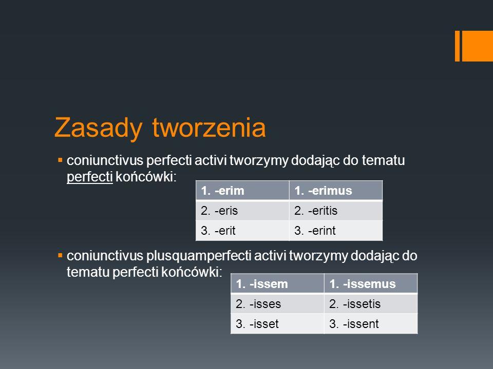Zasady tworzenia  coniunctivus perfecti activi tworzymy dodając do tematu perfecti końcówki:  coniunctivus plusquamperfecti activi tworzymy dodając