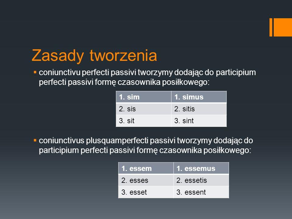 Zasady tworzenia  coniunctivu perfecti passivi tworzymy dodając do participium perfecti passivi formę czasownika posiłkowego:  coniunctivus plusquam