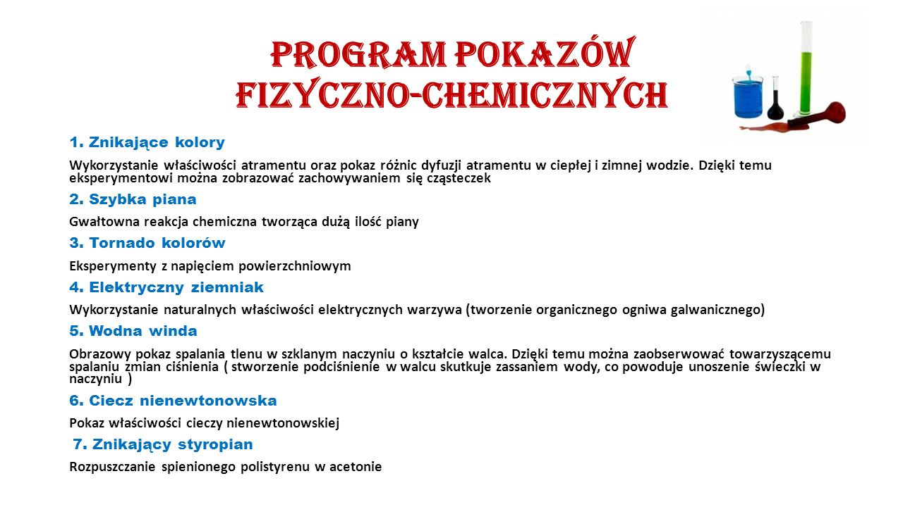 Program pokazów fizyczno-chemicznych 1.