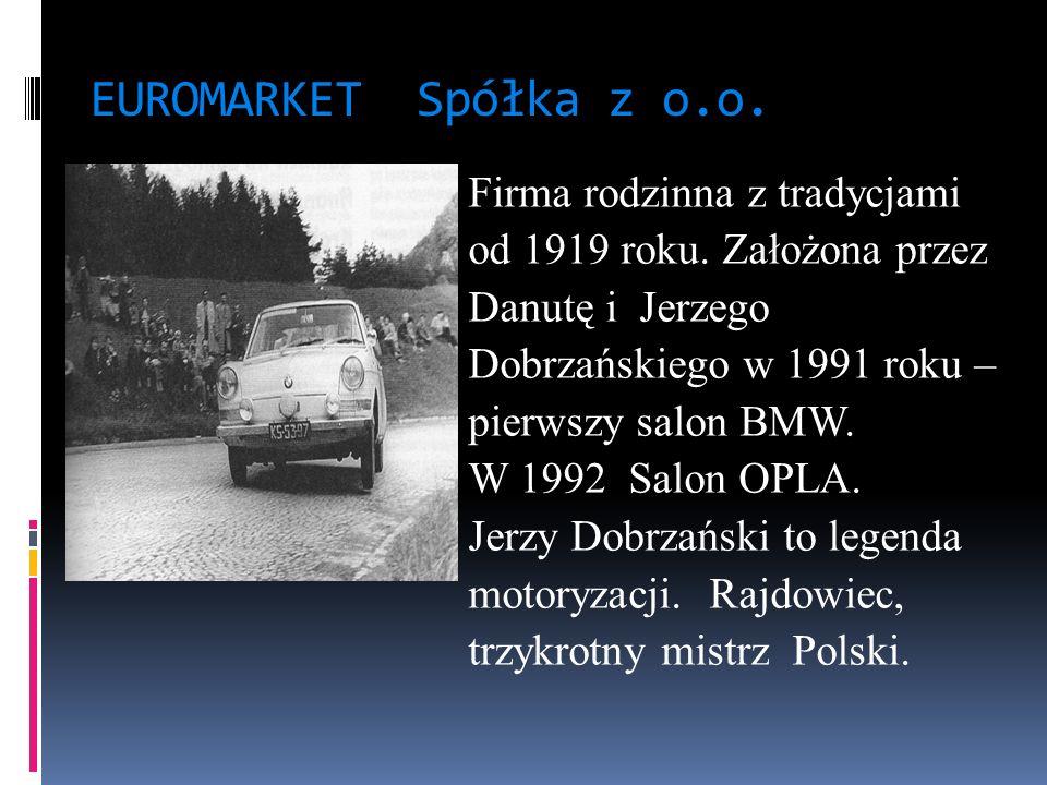 EUROMARKET Spółka z o.o. Firma rodzinna z tradycjami od 1919 roku. Założona przez Danutę i Jerzego Dobrzańskiego w 1991 roku – pierwszy salon BMW. W 1