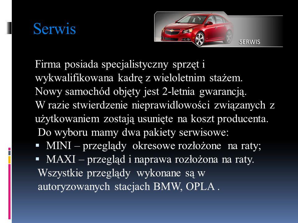 Serwis Firma posiada specjalistyczny sprzęt i wykwalifikowana kadrę z wieloletnim stażem. Nowy samochód objęty jest 2-letnia gwarancją. W razie stwier