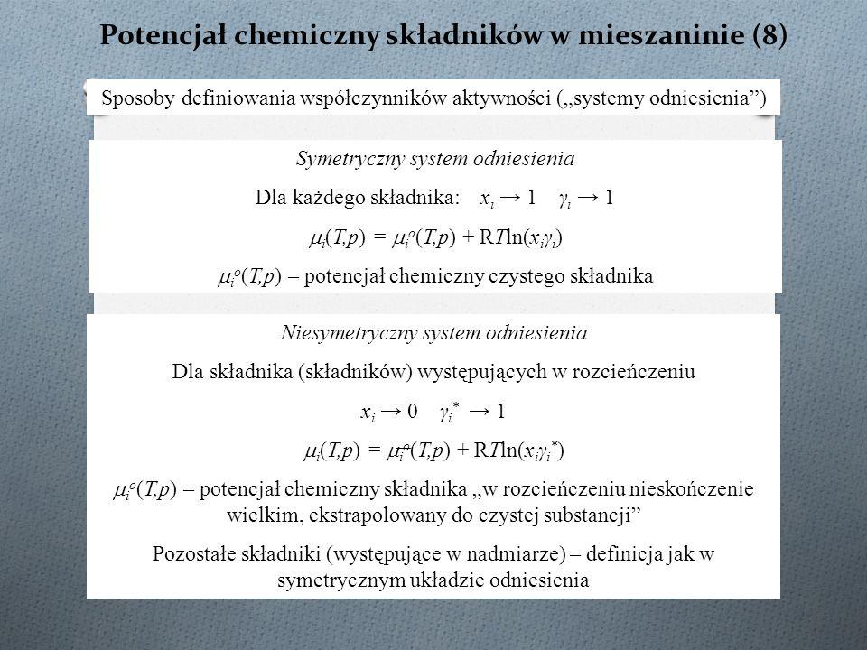 """Potencjał chemiczny składników w mieszaninie (8) Sposoby definiowania współczynników aktywności (""""systemy odniesienia"""") Symetryczny system odniesienia"""