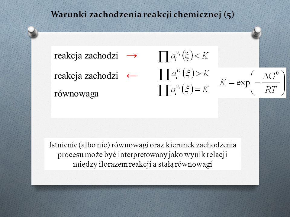 Warunki zachodzenia reakcji chemicznej (5) reakcja zachodzi → reakcja zachodzi ← równowaga Istnienie (albo nie) równowagi oraz kierunek zachodzenia pr