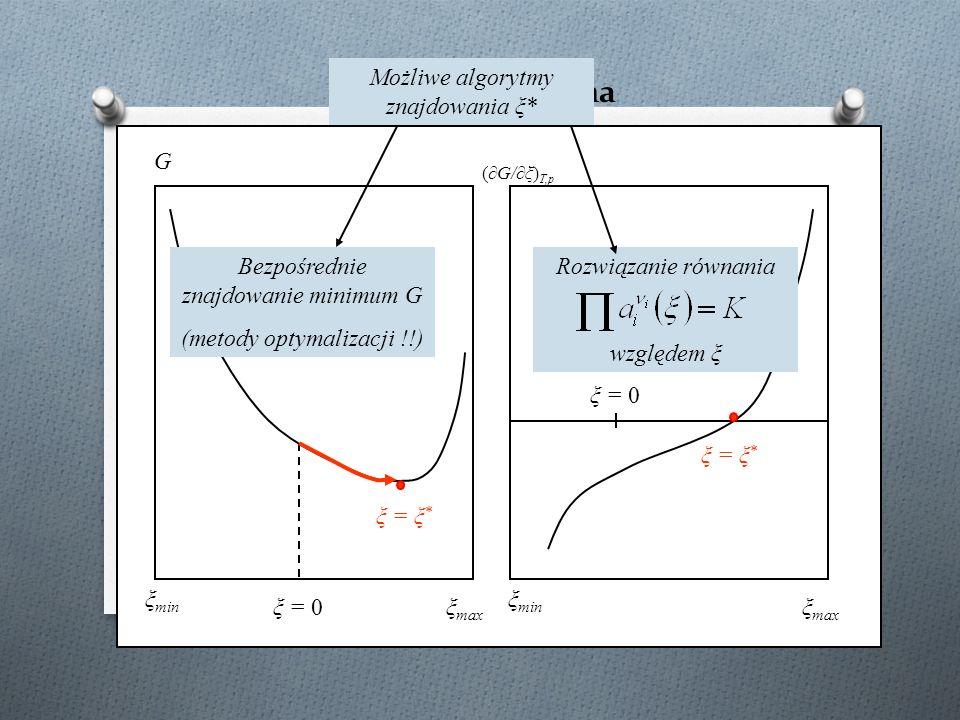 Ilustracja graficzna G (∂G/∂ξ) T,p ξ min ξ max ξ = 0 ξ = ξ * Bezpośrednie znajdowanie minimum G (metody optymalizacji !!) Możliwe algorytmy znajdowani
