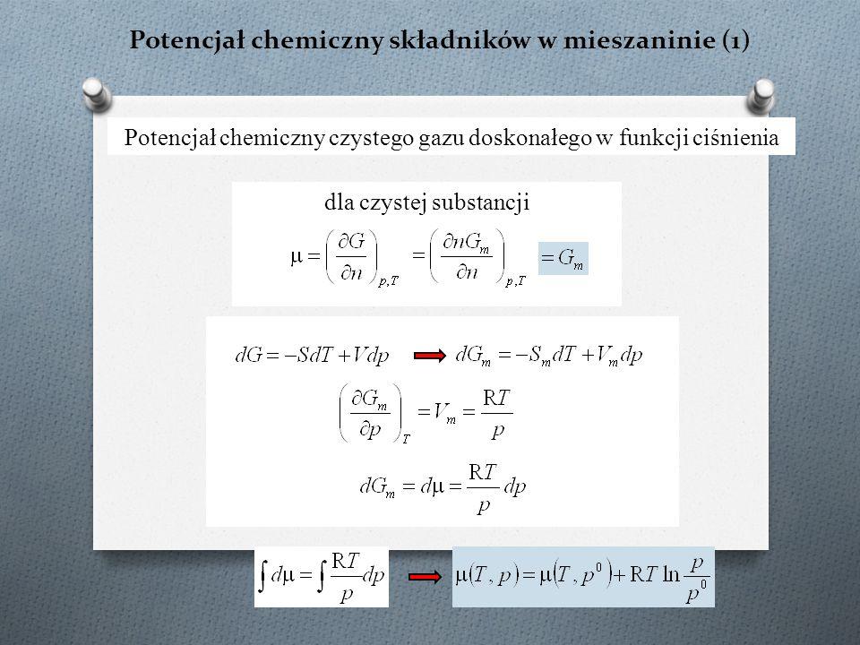 Potencjał chemiczny składników w mieszaninie (2) Potencjał chemiczny składnika w mieszaninie gazów doskonałych ciśnienie cząstkowe dla gazu doskonałego p i = px i → ciśnienie cząstkowe