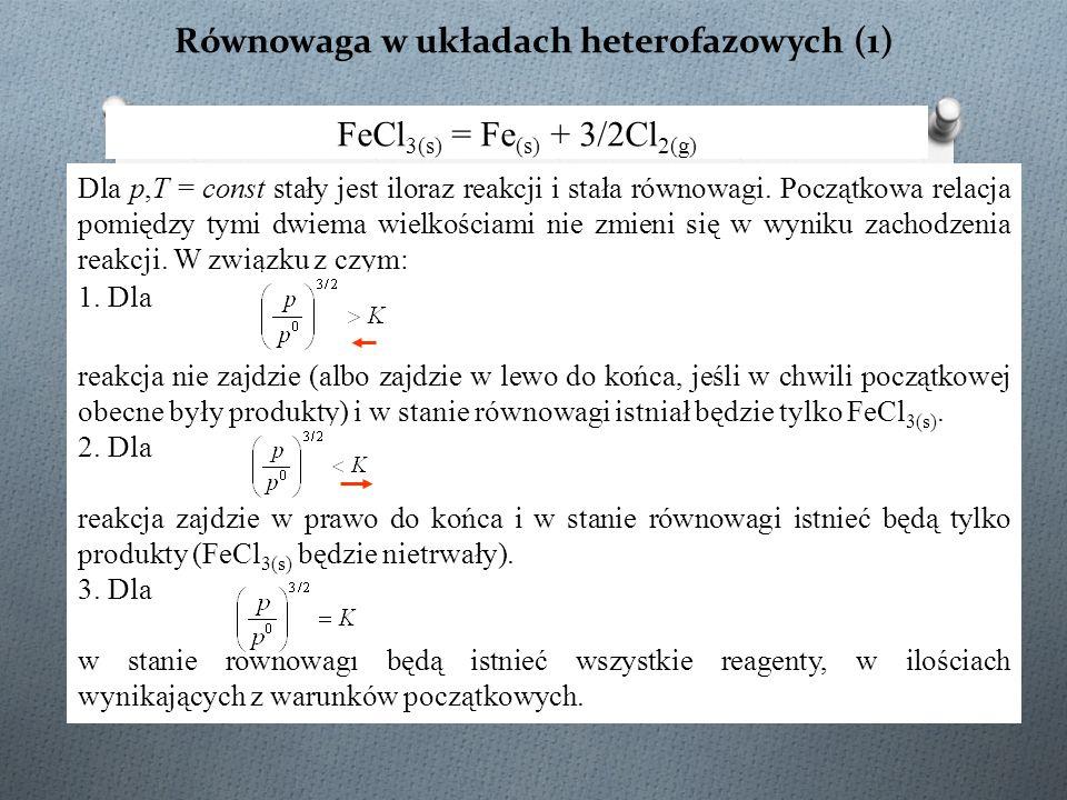 Równowaga w układach heterofazowych (1) FeCl 3(s) = Fe (s) + 3/2Cl 2(g) Dla p,T = const stały jest iloraz reakcji i stała równowagi. Początkowa relacj