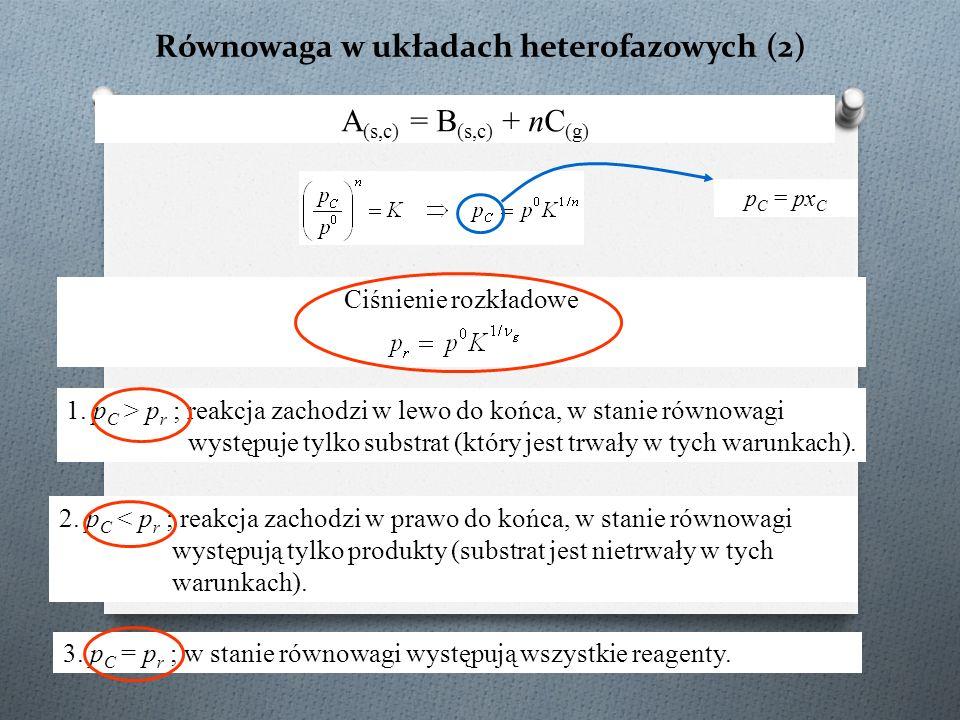 Równowaga w układach heterofazowych (2) A (s,c) = B (s,c) + nC (g) Ciśnienie rozkładowe 1. p C > p r ; reakcja zachodzi w lewo do końca, w stanie równ