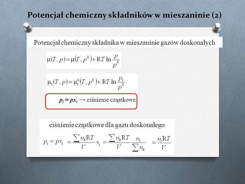 Potencjał chemiczny składników w mieszaninie (2) Potencjał chemiczny składnika w mieszaninie gazów doskonałych ciśnienie cząstkowe dla gazu doskonałeg