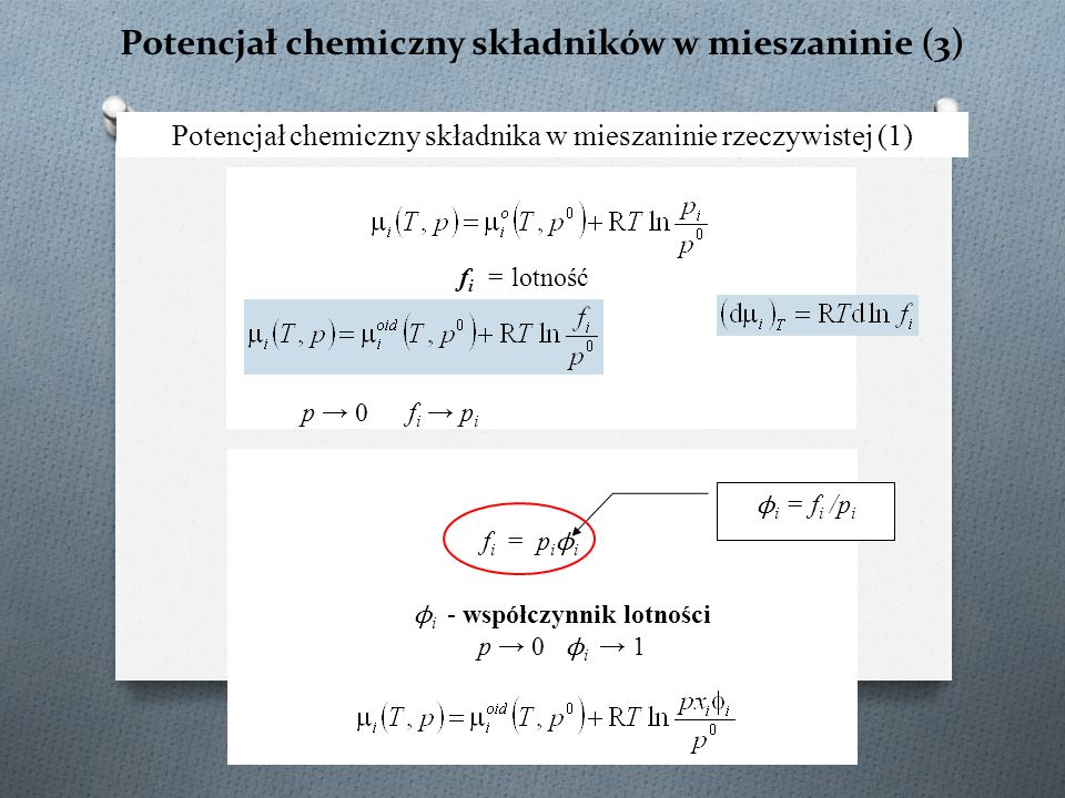 Potencjał chemiczny składników w mieszaninie (3) Potencjał chemiczny składnika w mieszaninie rzeczywistej (1) ϕ i = f i /p i f i = lotność p → 0 f i →