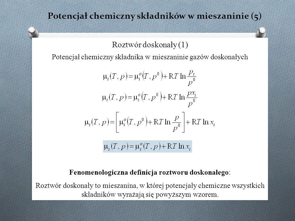 Potencjał chemiczny składników w mieszaninie (5) Roztwór doskonały (1) Potencjał chemiczny składnika w mieszaninie gazów doskonałych Fenomenologiczna