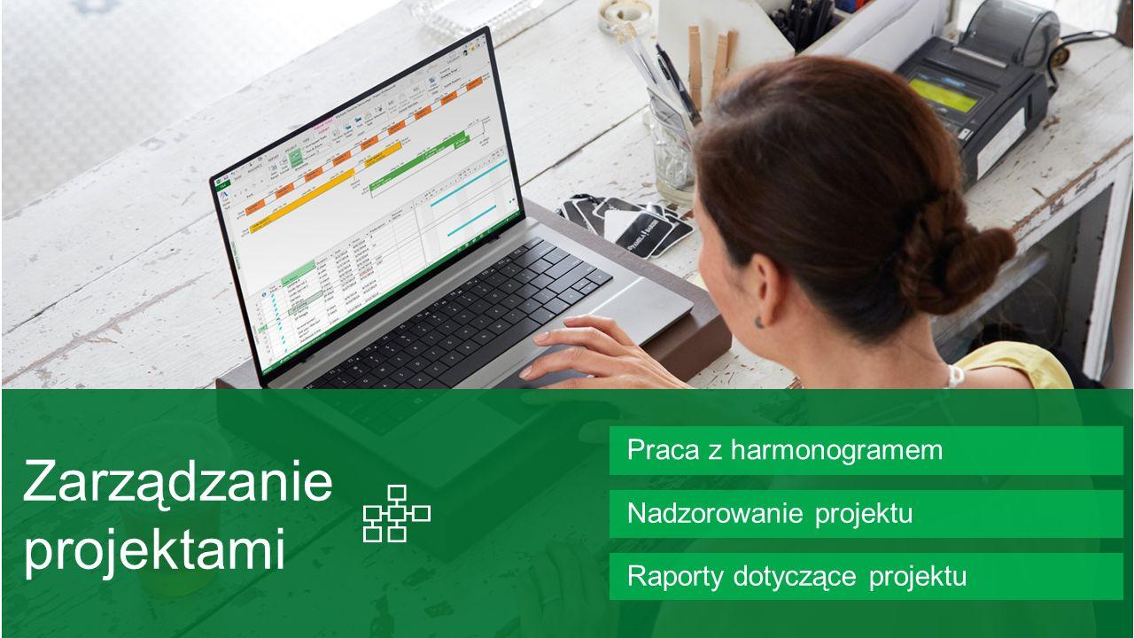 Praca z harmonogramem Raporty dotyczące projektu Nadzorowanie projektu
