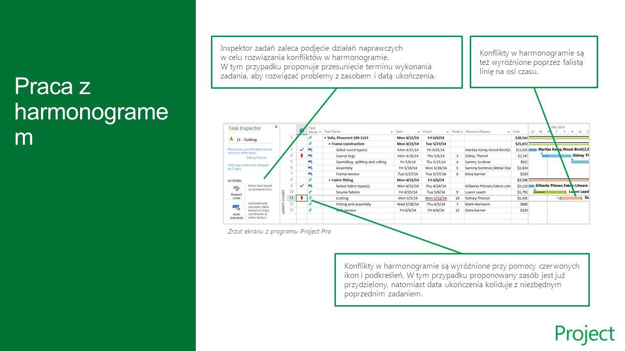 Zrzut ekranu z programu Project Pro Inspektor zadań zaleca podjęcie działań naprawczych w celu rozwiązania konfliktów w harmonogramie.